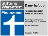 Bank of Scotland - Testsieger der Finanztest 1/2012