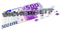 Puzzleteile 500 Euro mit Schriftzug Sicherheit
